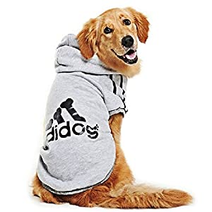 Eastlion adidog Large Dog Warm Hoodies Coat Clothes Sweater Pet Puppy T Shirt Gray 5XL