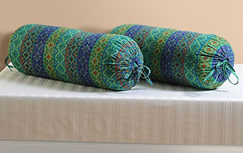YUGA Cylindrical Bolster Emerald Green Pure Cotton Batik Printed Pillow Cover 2 Pcs
