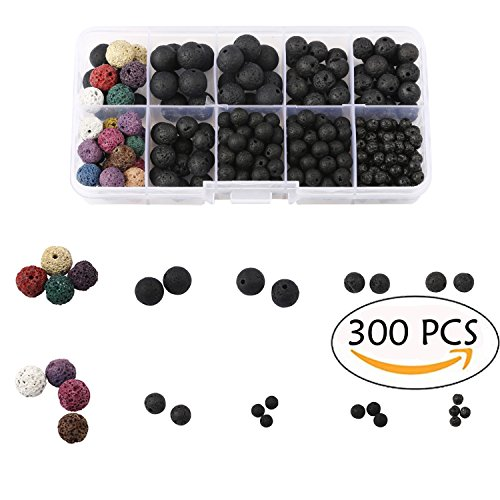 300 PCS Colorful and Black Lava Stone Rock Beads for Jewelry Making with Crystal String