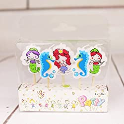 Birthday Candles Hippocampal Mermaid Candles Cartoon Birthday Candles Children'S Birthday Candles 3.5*1.8*0.5Cm Pack Of Five