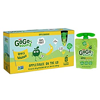 GoGo squeeZ Applesauce on the Go, Apple Banana, 3.2-Ounce Portable BPA-Free Pouches, Pack of 12