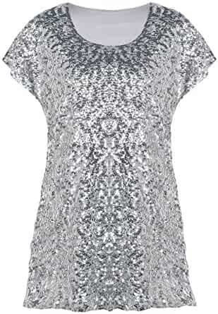 57be3626767 kayamiya Women's Sequin Party Top Plus Size Short Sleeve Glitter Tunic  Blouse Tops