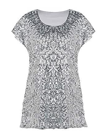 kayamiya Women's Sequin Top Shimmer Loose Bat Sleeve Night Out Tunic Tops Silver L/US12-14