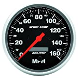 "Auto Meter 3989 Sport-Comp 5"" 160 mph Electric Programmable In-Dash Speedometer"