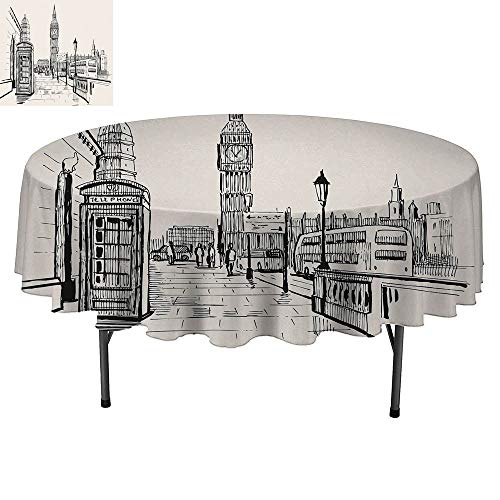 SATVSHOP Small Size Round tablecloth-40Inch-Table Cover Washable Polyester.Modern London City with Big Ben Monument Scene in Sketch Style British Famous Town Artwork Grey Cream. -