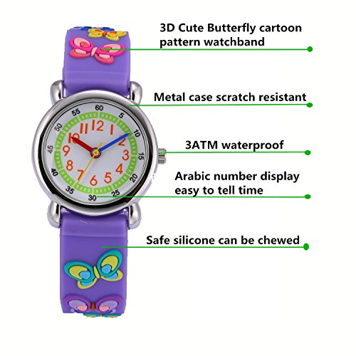 Children Kids Toddler Watches Age 4-7 Time Teacher Watches, Cartoon Character 3D dinosaur Silicone Band Watches (Purple - Butterfly) by Jewtme (Image #1)