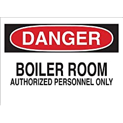"Brady 22077 Plastic Admittance Sign, 7"" X 10"", Legend ""Boiler Room Authorized Personnel Only"""