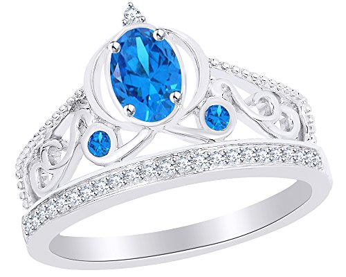 (Wishrocks 1/10 Ct Diamond & Simulated Blue Topaz Cinderella Carriage Ring in 925 Sterling Silver)