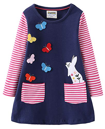 Casual Clothes For Girls (Fiream Toddler Girls Cotton Longsleeve Casual Dresses Applique)