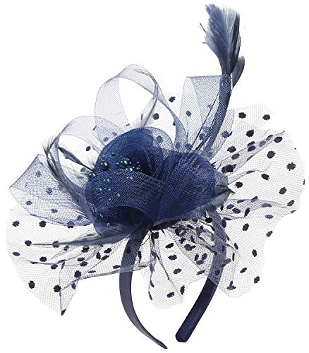 Myjoyday Women's Feather Fascinators Navy Cocktail Tea Party Derby Wedding Headband Flower Headwear Hat Hair Clip for Women (Navy Blue)]()