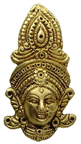 Decorative Goddess Durga Face Wall Hanging Sculpture Brass Metal Home Decor Statue