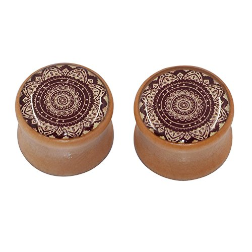 Bamboo Pattern Earrings (D&M Jewelry 1 Pair Sunflower Pattern Natural Organic Wood Double Flared Saddle Tunnels)