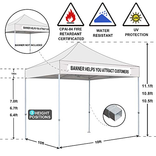 Eurmax 10 x 10 Feet Ez Pop up Canopy Tent Commercial Instant Shelter with Heavy Duty Roller Bag (White)