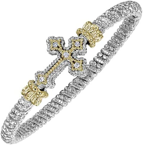 VAHAN Bracelet: Vahan Jewelry for Women: Vahan Sterling Silver and 14K Yellow Gold with 0.10cttw Round-Cut Diamonds (G-H Color, VS2-SI1 Clarity) 4mm Wide VAHAN Cross Bracelet Bangle