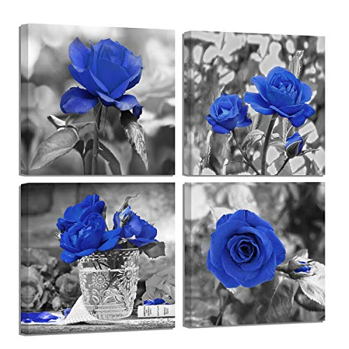 - Flower Wall Decor Modern Blue Blossom Rose Wall Art for Bedroom Black and White Theme Canvas Wall Art Flower Kitchen Wall Decor for Women Bathroom Artwork for Walls Stretched 4 Piece Framed Wall Art