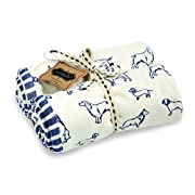 Mud Pie Vintage Inspired Cotton Puppy Print Blanket, Navy Blue