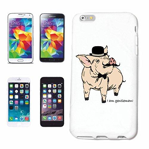 """cas de téléphone iPhone 6+ Plus """"PIG FUNNY AVEC FLY moustache ET MELON SUR LA TÊTE Domestique PIG phacochère SANGLIER MINI PIG PIG RACES Ferkel SAU"""" Hard Case Cover Téléphone Covers Smart Cover pour A"""