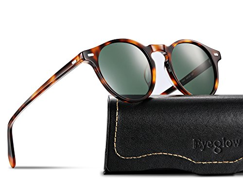 EyeGlow Vintage Round Tortoise Sunglasses Women Sunglasses Men Polarized Lens 5187 Acetate material(Tortois vs green polarized lens, As - Men Sunglasses For Round