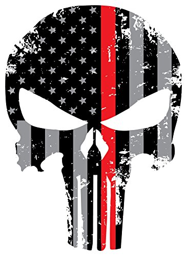 Punisher Red Line Skull 5.5 x 4 Inch Tattered Subdued Us Fla