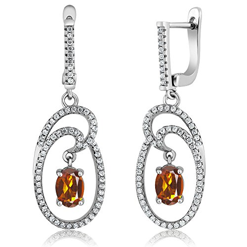 Gem Stone King 2.84 Ct Oval Orange Red Madeira Citrine 925 Sterling Silver Earrings - Madeira Citrine Ring