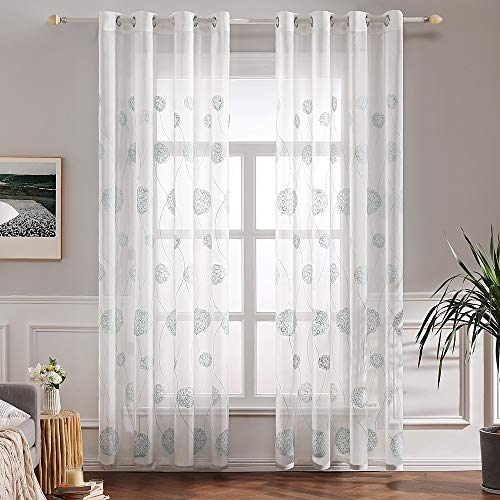 MIULEE Embroidered Grommet Curtains Treatment