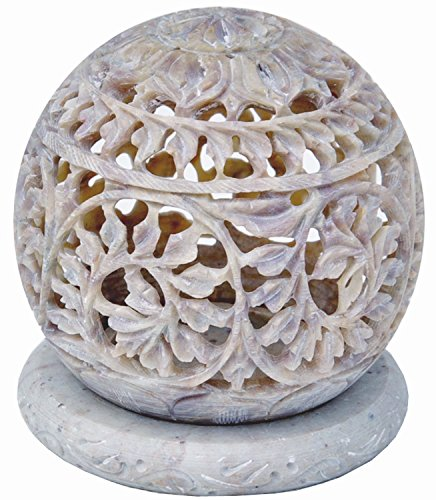 StarZebra Hand Carved Tealight Holder Sphere Shaped Made From Soapstone With Intricate Tendril Openwork Floral Decorative Lantern Decorate Your Home With This Amazing Tea Light Holder