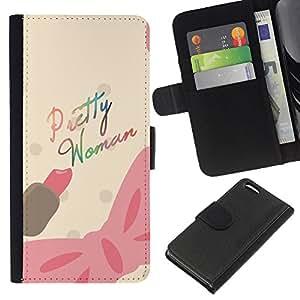 A-type (Pretty Woman Pink Bow Movie Text Pink) Colorida Impresión Funda Cuero Monedero Caja Bolsa Cubierta Caja Piel Card Slots Para Apple Iphone 5C