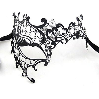 Xvevina Women's Halloween Black Metal Luxury Half Phantom Masquerade Mask