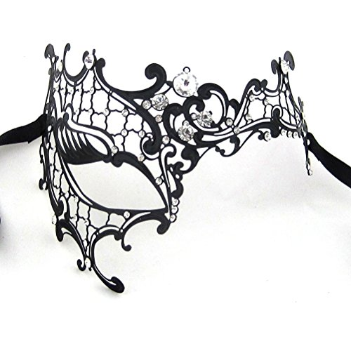 [Xvevina Women's Halloween Black Metal Luxury Half Phantom Masquerade Mask (black metal clear] (Masquerade Masks Metal)