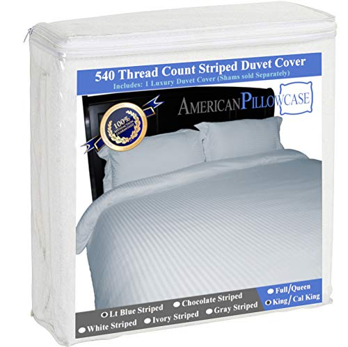 American Pillowcase 100% Egyptian Cotton Luxury Striped 540 Thread Count Duvet Cover with Wrinkle Guard - King/California King, Light Blue