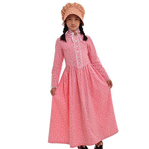 GRACEART Reenactment Pioneer Prairie Colonial Girl Costume 100% Cotton