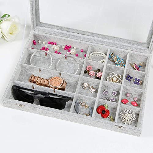 RJ Displays-Ice Gray Velvet Decorative 24 Slot Jewelry Display Box Clear Glass Top Dresser Top Necklace Earrings Organizer 24