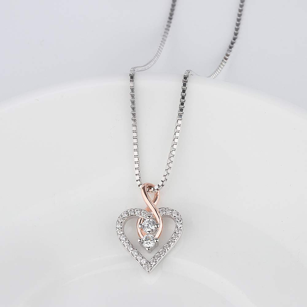 Aloha Jewelry Company Sterling Silver CZ Rose Gold Plated Brilliant Infinity Heart Pendant with 18 Box Chain