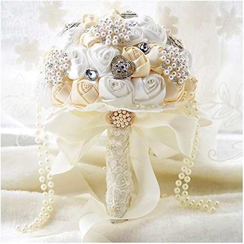 Luvier Handmade Artificial Rose Wedding Bouquet for Bride White Silk Rose Crystal Pearls Modern Bridal Bouquet (Ivory)