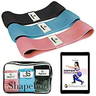 Shape Bod Booty Bands – Set of 3 Glute Bands for Gym or Home Workout – Non-Slip Fabric Resistance Bands for Women – Transparent Case and Workout Guide Included – 3 Adjustable Levels