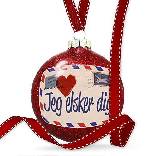 Christmas Decoration I Love You Denmark Love Letter from Danish - Glasses Denmark I