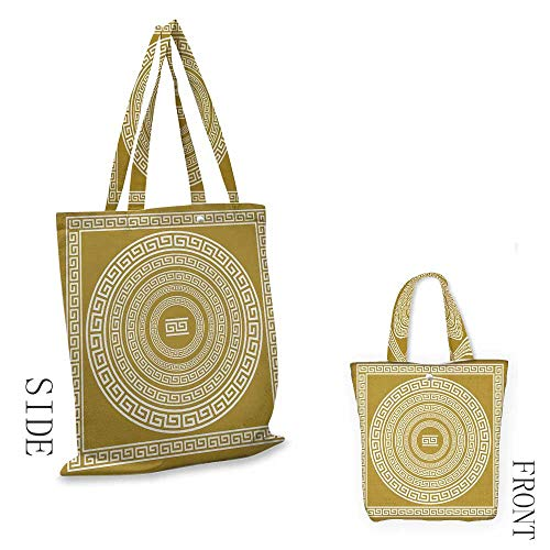 (Heavy Duty Shopping Tote Bag, Soft and Foldable Greek Key Frieze with Vintage Ornament Meander Pattern from Greece Retro Twist Lines Shoulder Tote and HandbagGoldenrod White)