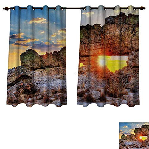 Anzhouqux Landscape Blackout Thermal Curtain Panel Sunset at Rock Formation La Fenetre Madagascar Sunbeams Nature Scenery Patterned Drape for Glass Door Brown Blue Yellow W52 x L63 inch