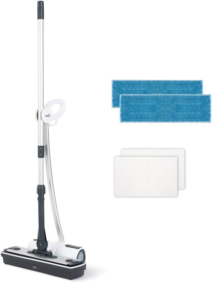Polti Moppy Limpiador de suelos con vapor sin cables para todo tipo de suelos y superficies verticales lavables, color blanco