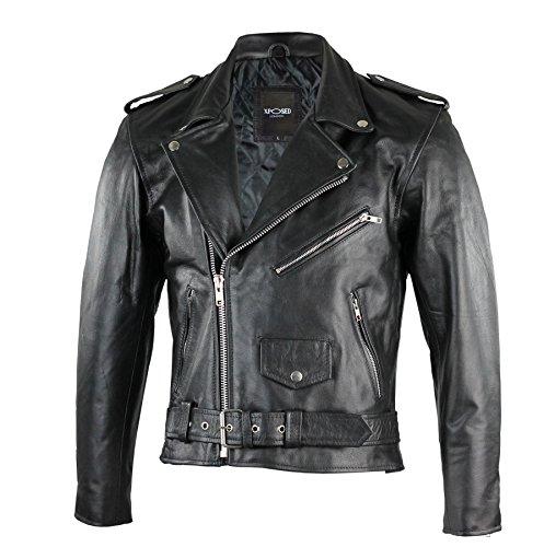 En cuir véritable pour homme Noir Biker Moto classique Vintage Veste zippée 36 à 54