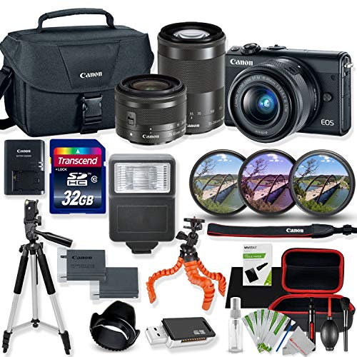 Canon EOS M100 Mirrorless Digital Camera (Black) with 15-45mm & 55-200mm STM Lens Kit with Premium Accessory Bundle