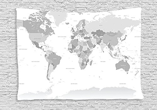 Grey Decor Tapestry Detailed World Map With All Countries And Major Capital Cities Universe Earth Continents Bedroom Living Room Dorm Decor Grey (Major Egyptian Gods)