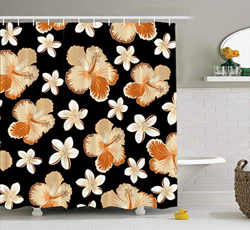ASOCO Fabric Shower Curtain Aloha Hawaiian Shirt Hibiscus Beige Brown and Orange Black Art Artwork Bathroom Shower Curtains Resistant Waterproof Set of Hooks 72X72 Inches