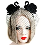 QTMY Veil Yarn Black Swan Eye Mask Headdress for Halloween Party Costume