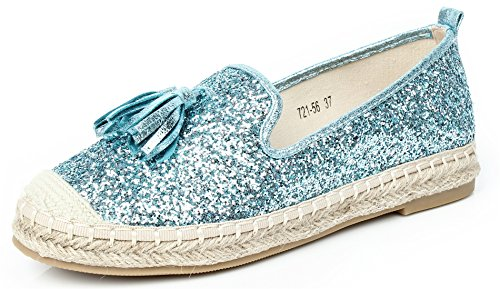 AgeeMi Shoes Women's Espadrilles Pumps Shoes Canvas Cloth Shoes With Hemp Rope Light Blue(EuD19) WLu1MIbhLE