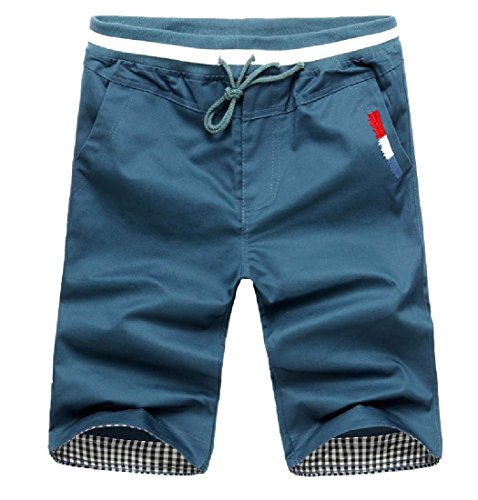 Tootless-Men Basic Pull On Style Straight Leg Gingham Running Shorts Denim Blue - Short Gingham Denim