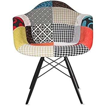 2xhome Set of 2 – Fabric Dining Room Chairs Armchairs – Black Wooden Legs – Lounge Chair Seat Shell with Arm Arms Armed Armchair with Black Wood Dowel Leg WoodLeg Legged Base Patchwork S