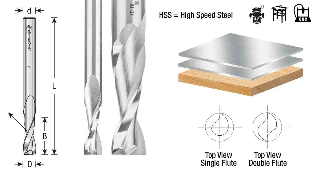 Amana Tool Double Flute Spiral Aluminum Cutting 1//2 Dia x HSS HSS1645 High Speed Steel