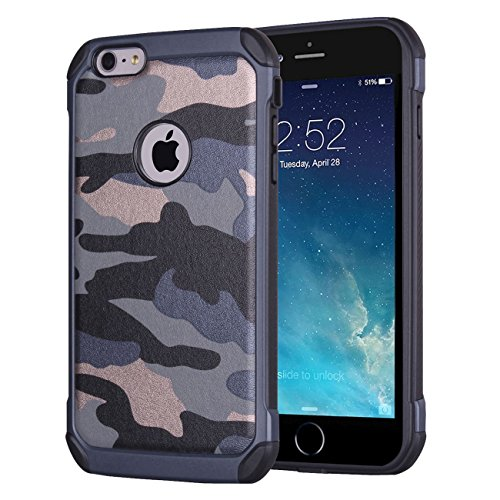 iPhone 6 Plus Case, iPhone 6S Plus Case, Heavy Duty Dual Layer Military Army Defender Camouflage Shockproof Rugged Impact Super Protective Case for iPhone 6s Plus 5.5 inch (Blue)