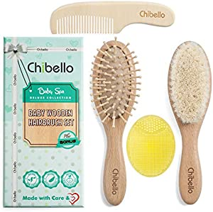 Win A Free Chibello 4 Piece Wooden Baby Hair Brush and Comb Set Natural...